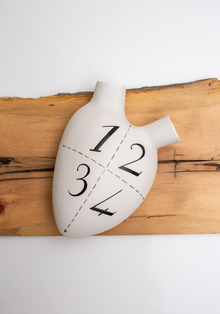 '1, 2, 3, 4' Porcelain Anatomical Heart Wall Vase