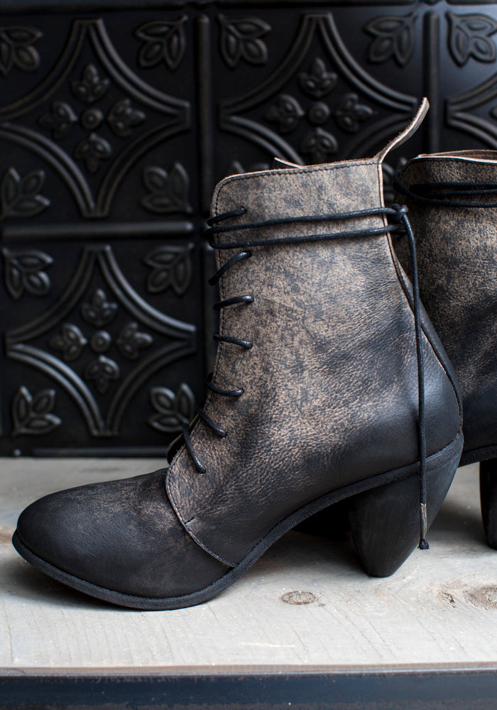 Dainty Heel Lace Up Splattered Leather Bootie