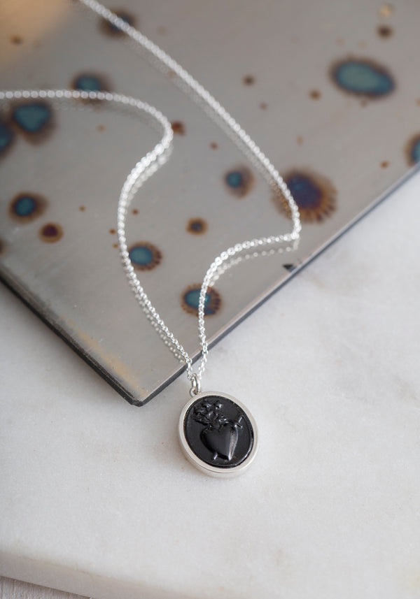 Sterling Silver Sacred Heart Intaglio Necklace