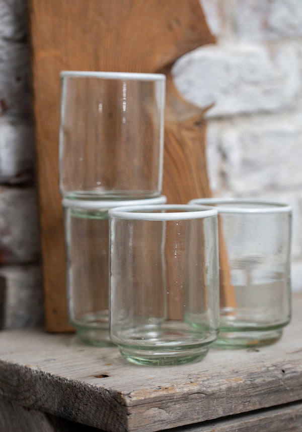 White Rim Recycled Glass Drinking Glass
