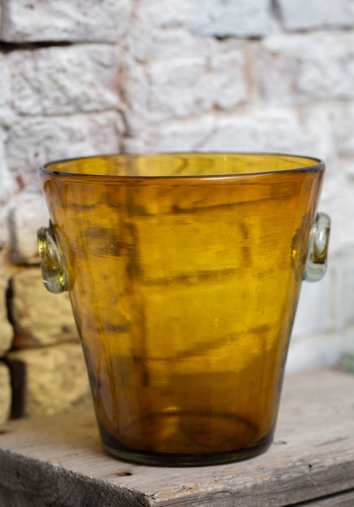 Amber Recycled Glass Ice Bucket