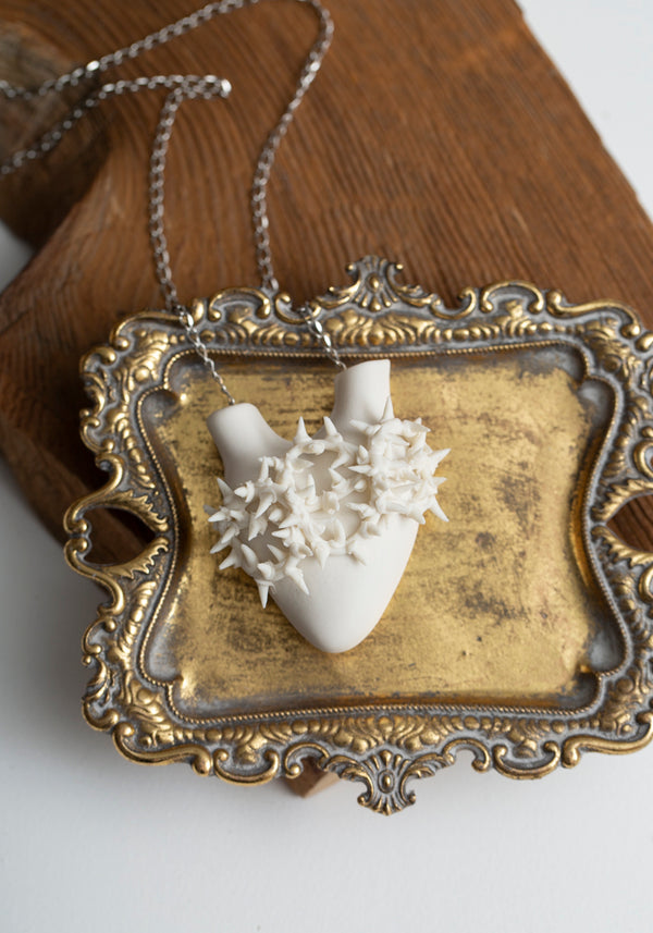 'Spines' Porcelain Anatomical Heart Necklace