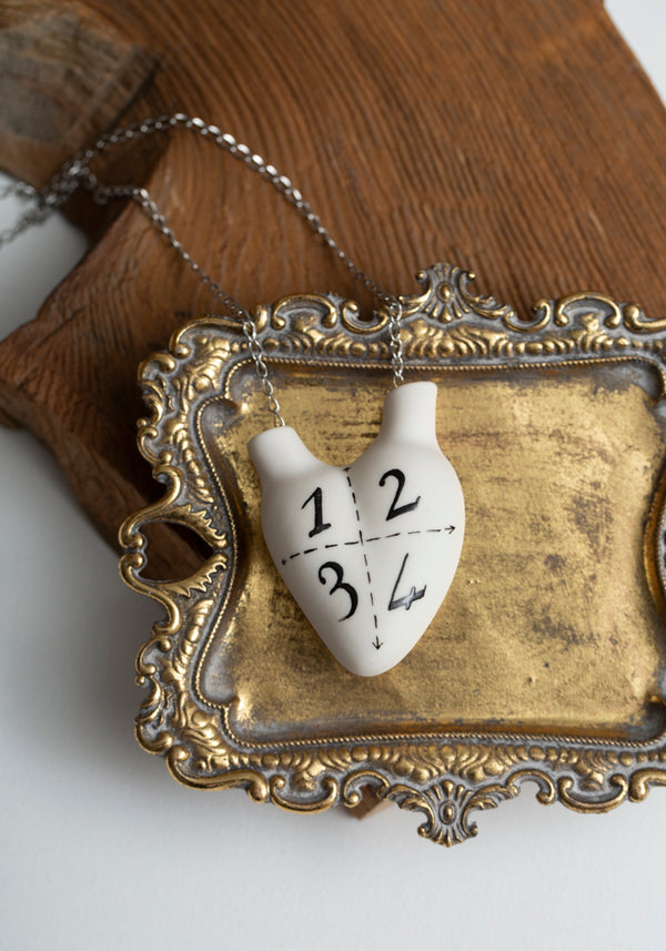 '1, 2, 3, 4' Porcelain Anatomical Heart Necklace