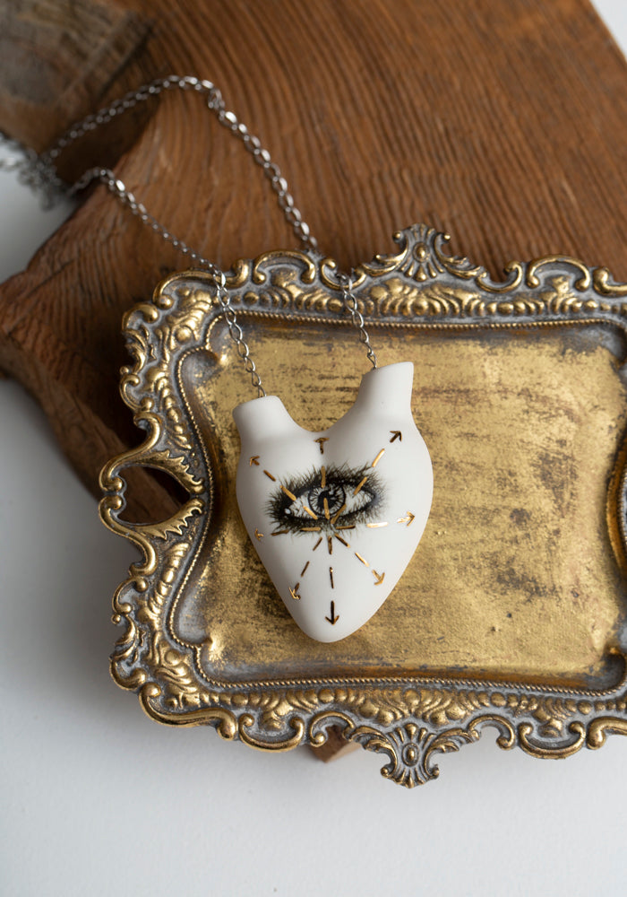 'Out Of Sight, Out Of Mind' Porcelain Anatomical Heart Necklace - December Thieves