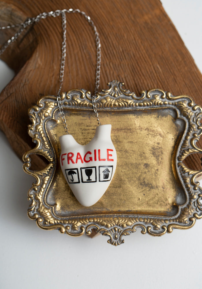 'Fragile' Porcelain Anatomical Heart Necklace