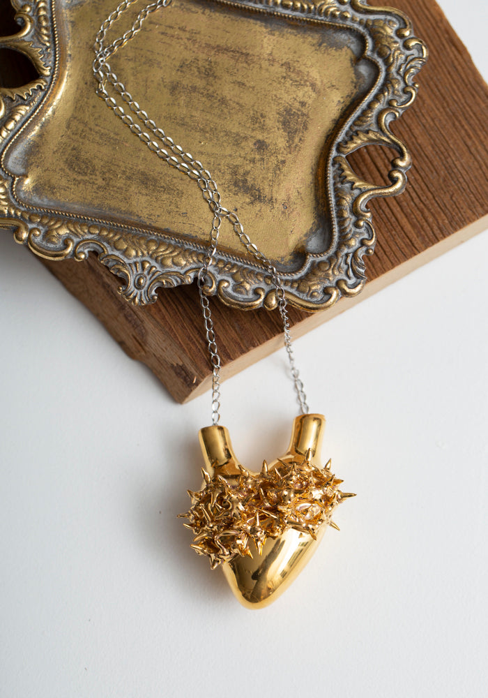 'Heart of Gold' Porcelain Anatomical Heart Necklace - December Thieves