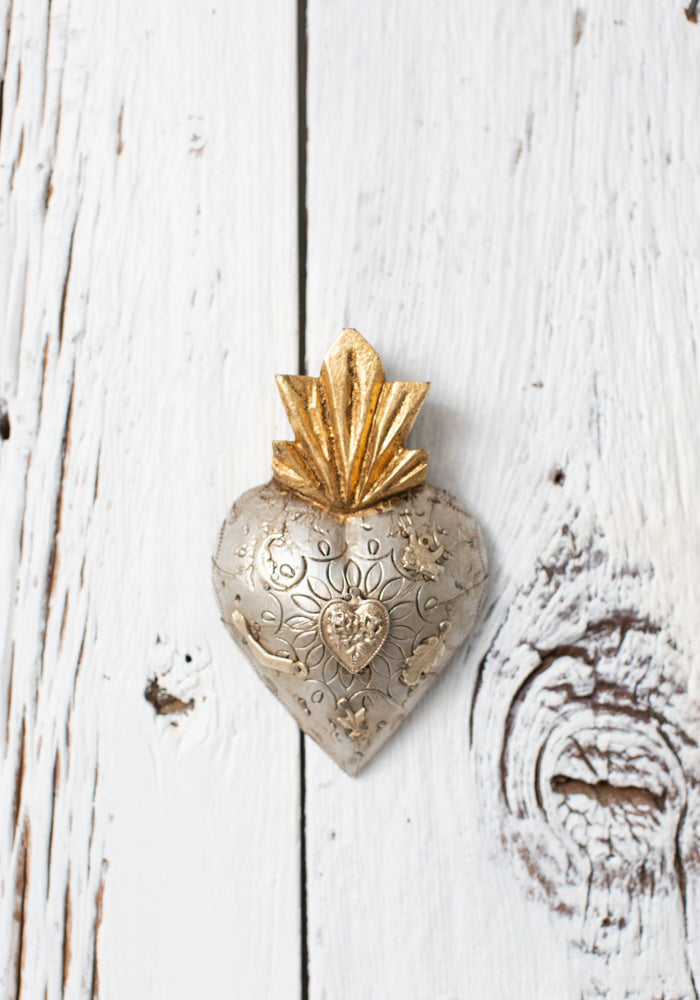Carved Repousse Heart With Milagros