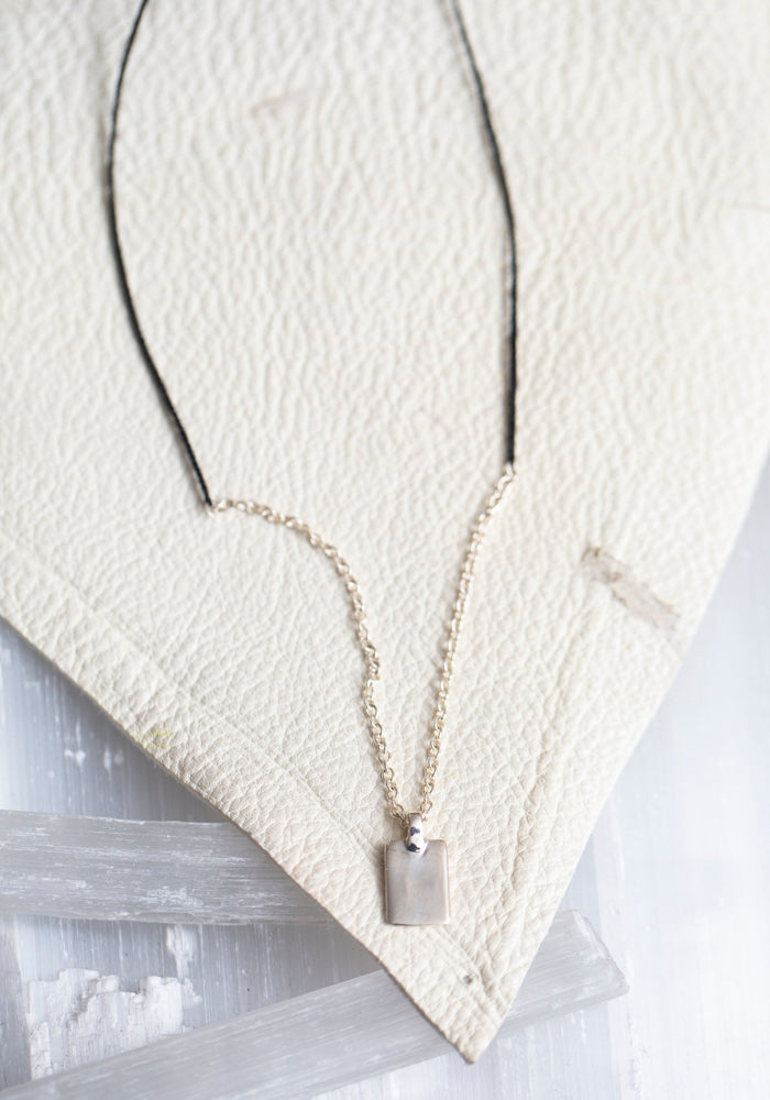 Sterling Silver and Black Braided Waxed Nylon Tag Necklace