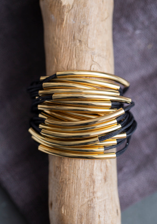 Black Cotton and Layered Gold Tubing Cuff