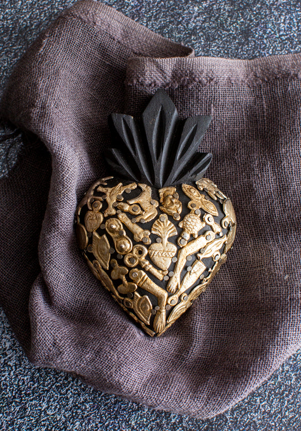 Carved Wooden Heart With Milagros