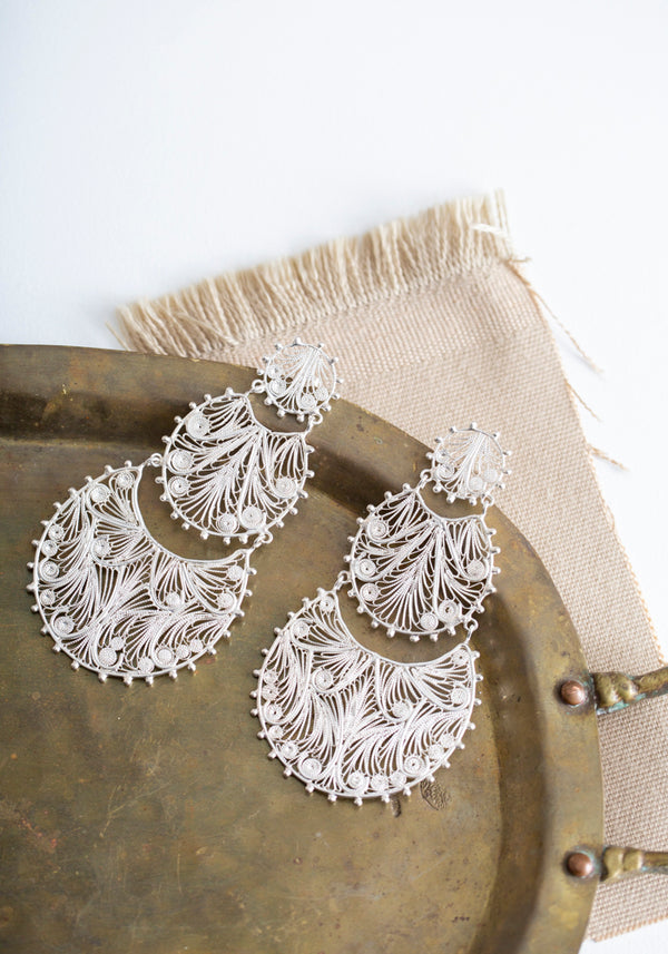 Sterling Silver Alma Statement Earrings