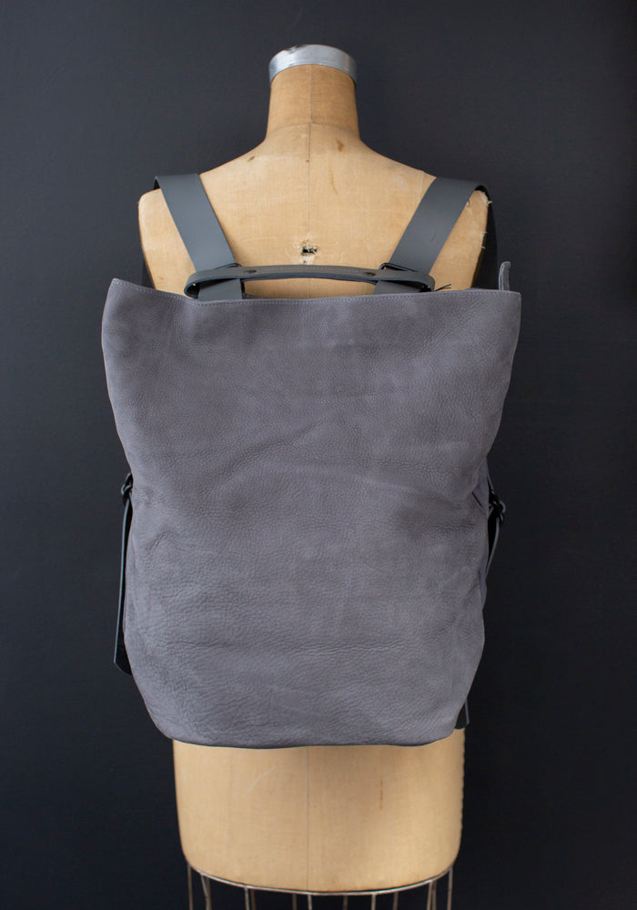 Nubuck Grey Leather Tesris Backpack