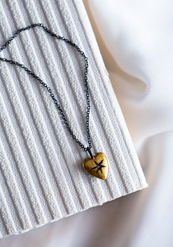 Antique Star Heart Pendant Necklace