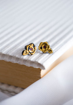 Acanthus Ruby Rose Stud Earrings