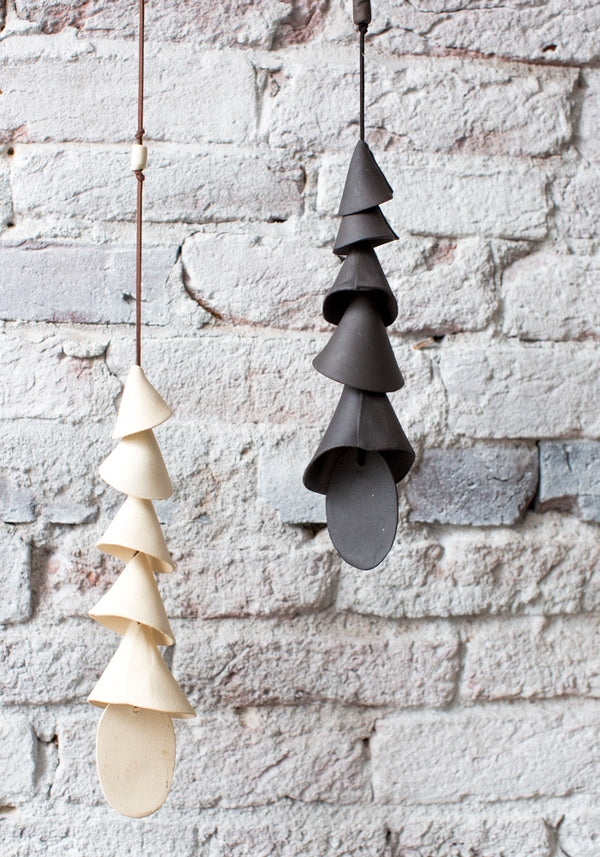 Black Conical Five Tier Ceramic Wind Chime