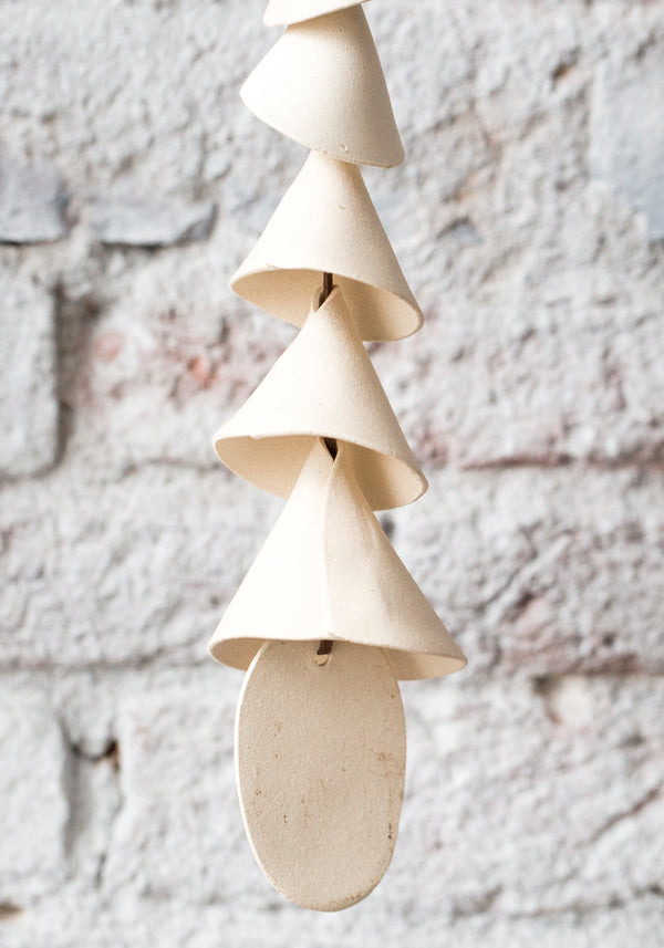 White Conical Five Tier Ceramic Wind Chime