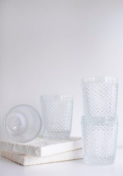 Set of Four Clear Bicos Low Highball Glasses