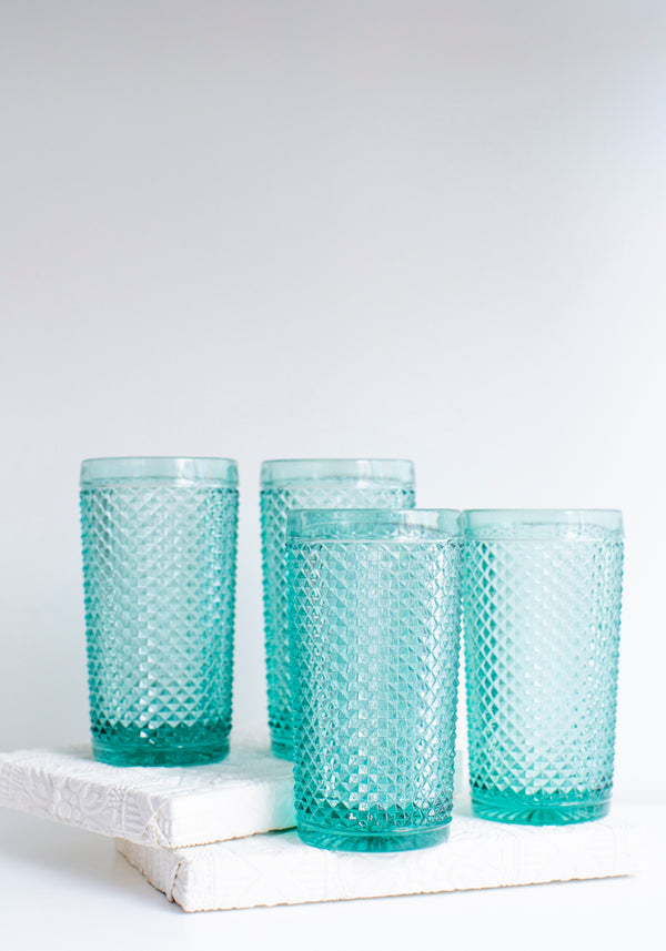 Set of Four Mint Bicos Tall Highball Glasses