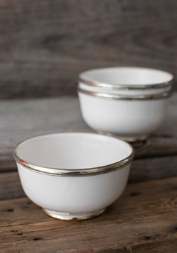 White Moroccan Glazed Bowls with Berbe Silver Trim