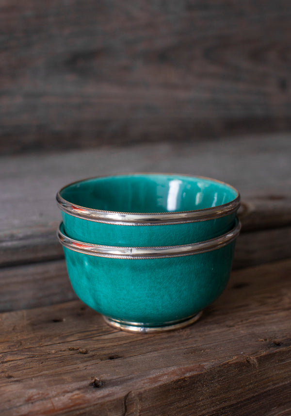 Teal Moroccan Glazed Bowls with Berbe Silver Trim