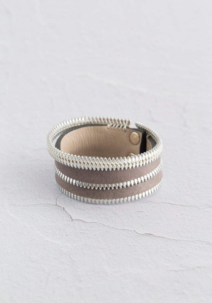 Grey Zipper Detail Single Wrap Leather Cuff
