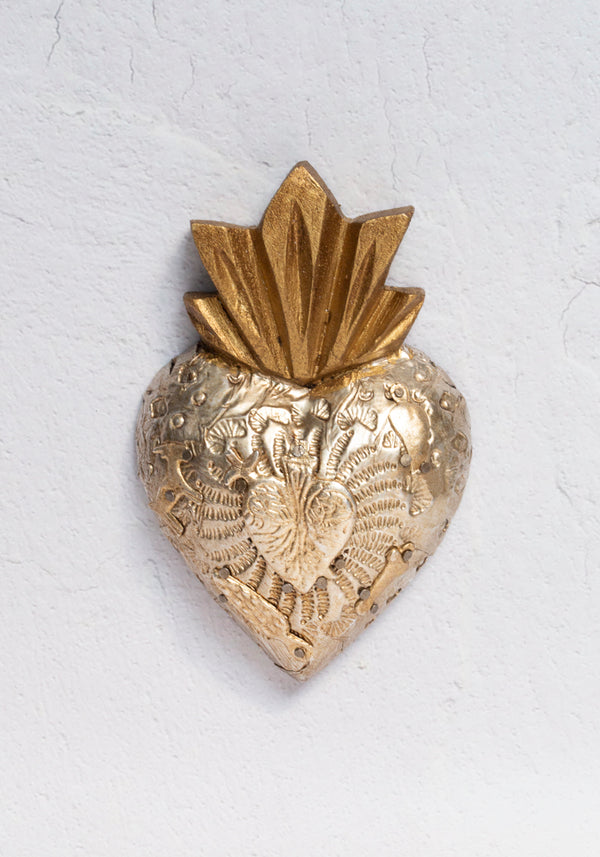 Cielito Lindo textured heart milagros wall hanging