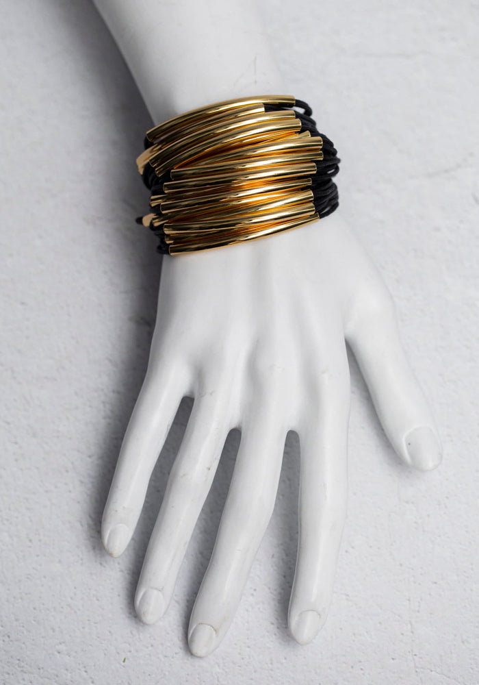Gillian Julius Black Cotton and Gold Cuff