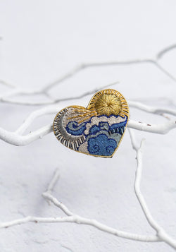 Embroidered Celestial Heart Pin
