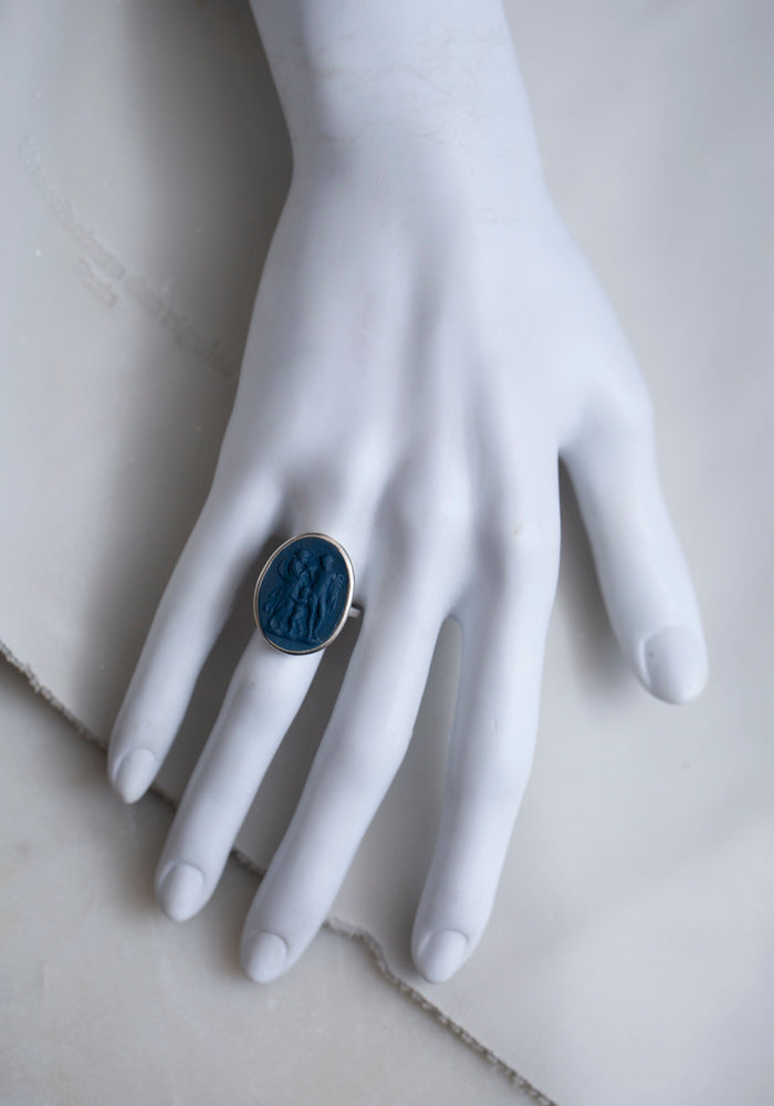 Hand Set Porcelain and Silver Family Ring