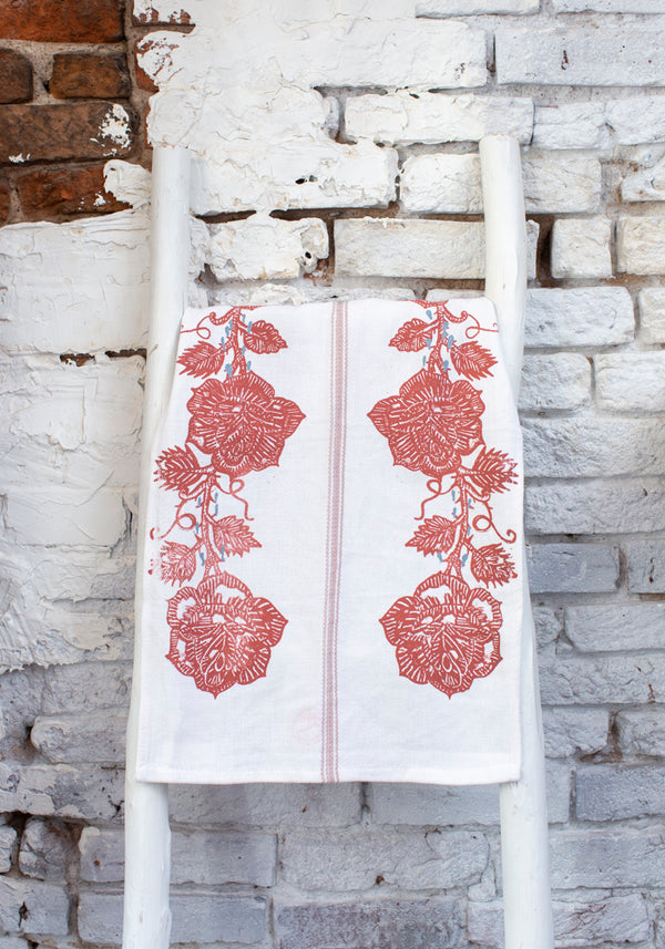 """I Want To Be Yours"" Six Roses Tea Towel"