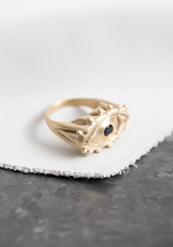 Brass and Onyx Mati Ring