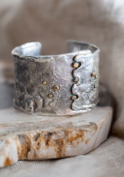 Sterling Silver and Brass Reticulated Cuff