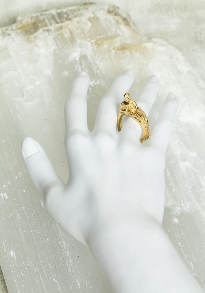 Bjørg Primal being gold vermeil human figure ring