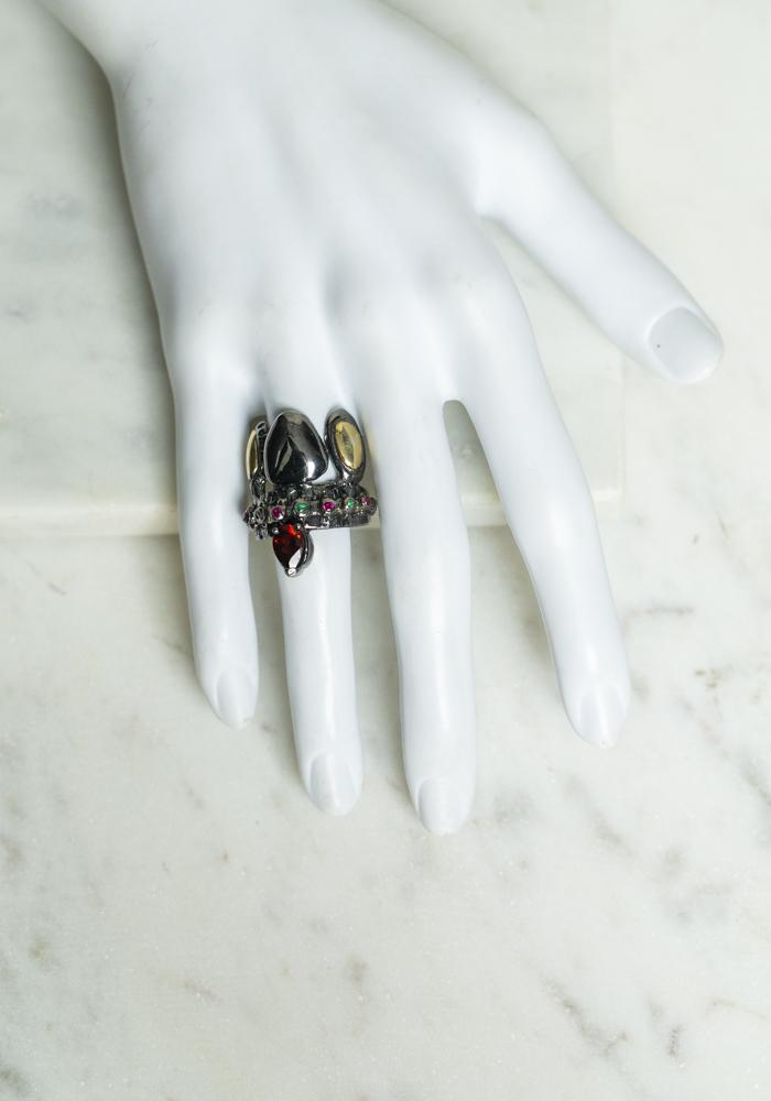 Angostura baroque gold, platinum plated silver, colorful gemstones ring