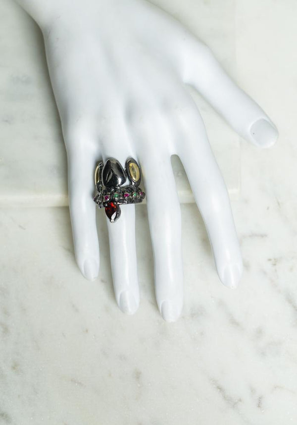 Baroque Gold and Platinum Plated Sterling Silver Stone Set Ring