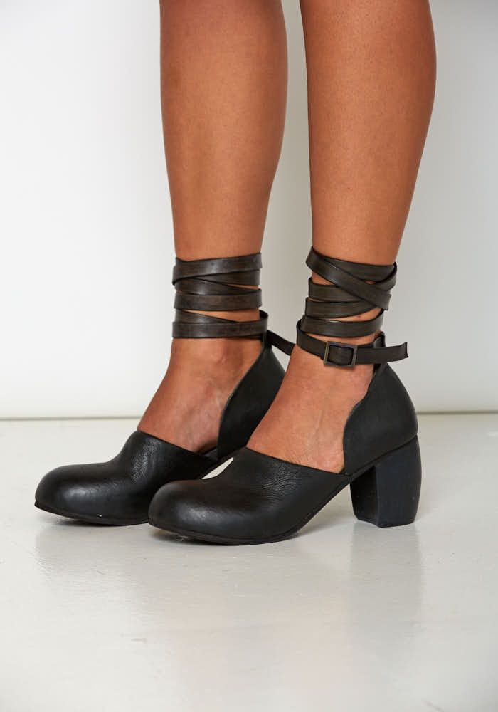 Leather Round Toe Wrap Sandal with Hand Carved Heel