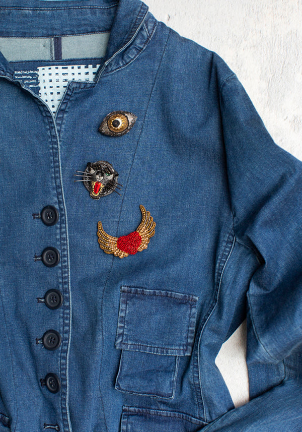Embroidered Angel Heart Pin - December Thieves