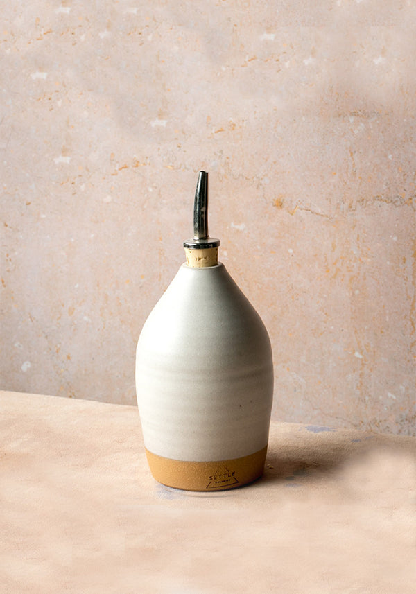Matte White Ceramic Oil Bottle