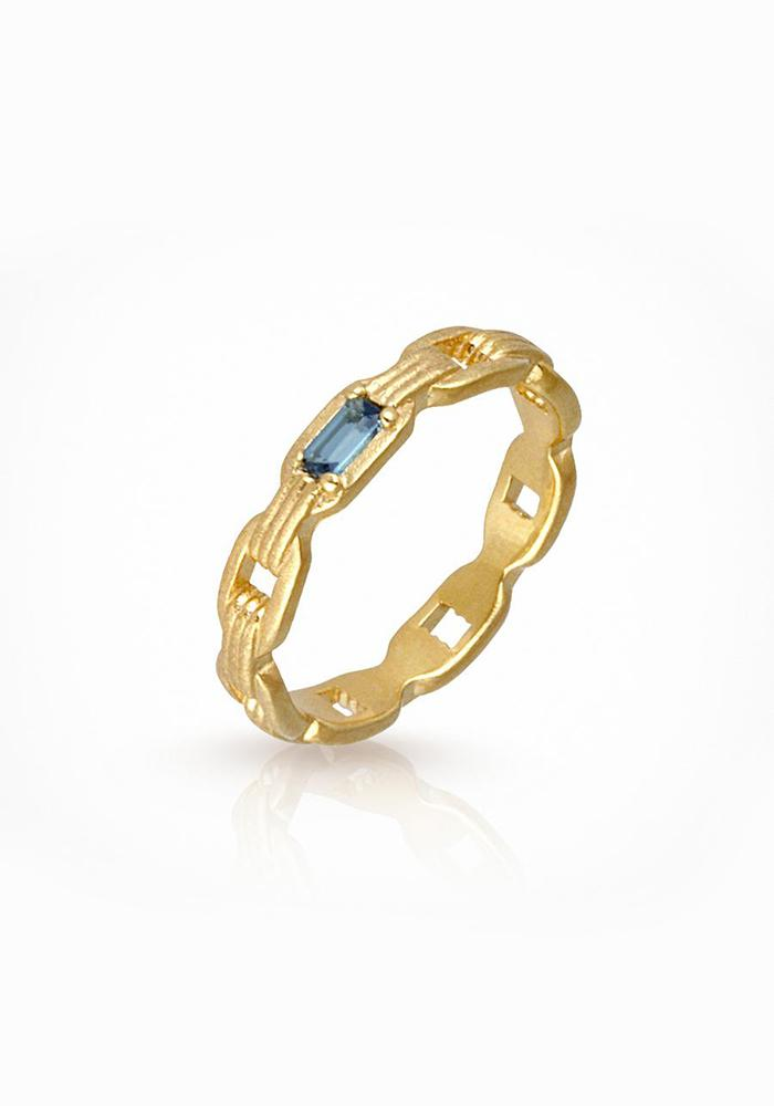 18KT Gold Vermeil and Blue Topaz Ava Ring