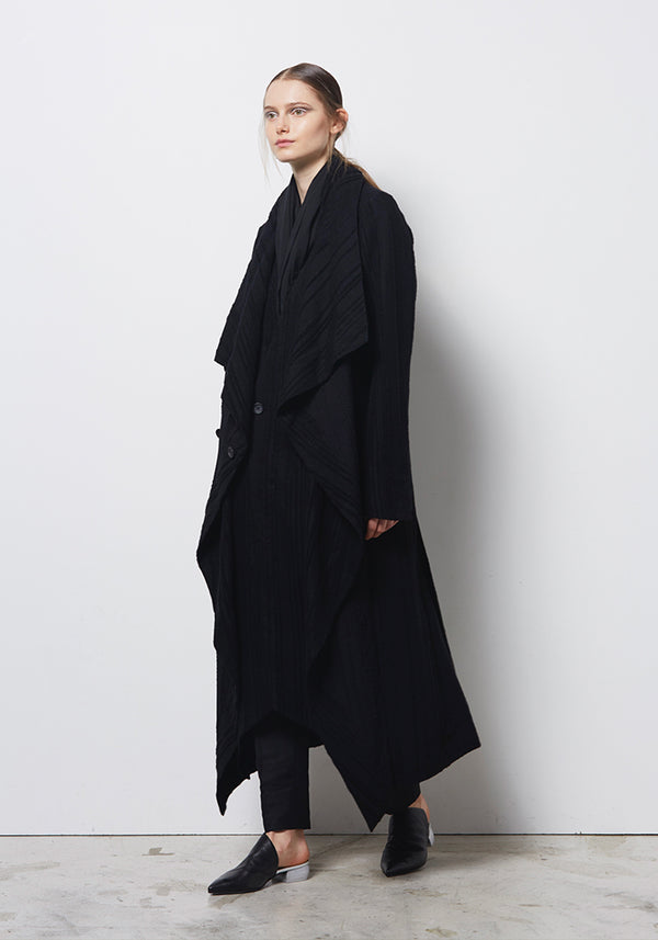 Divka Wool Blend Draped Button Up Coat