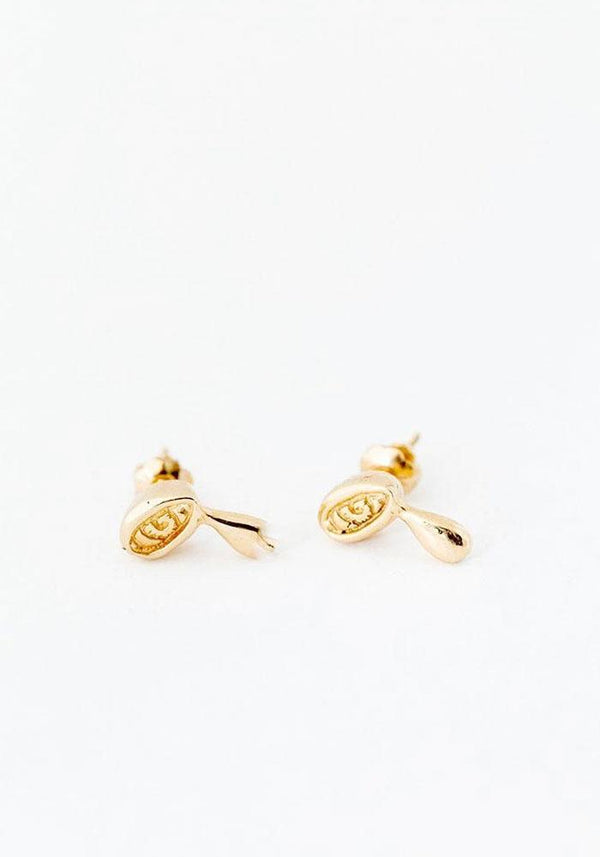Elaine Ho 14KT gold tiny crying eye stud earrings