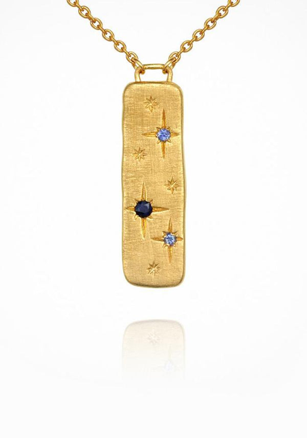 18KT Gold Vermeil and Blue Sapphires Elektra Necklace