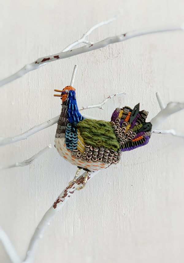 Embroidered Folk Hen Pin