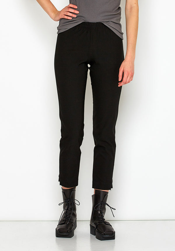 Zipper Detail Cropped Viscose Trouser
