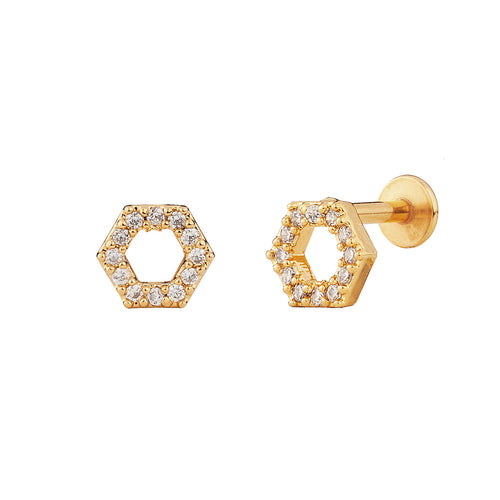 PENDIENTE PIERCING HEXAGON BRIGHT GOLD
