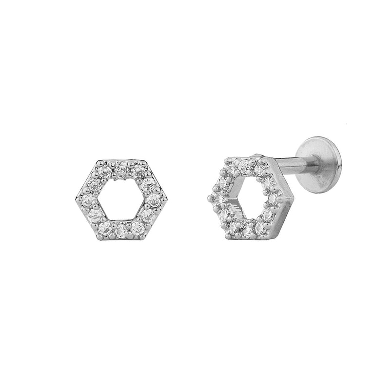PENDIENTE PIERCING HEXAGON BRIGHT SILVER