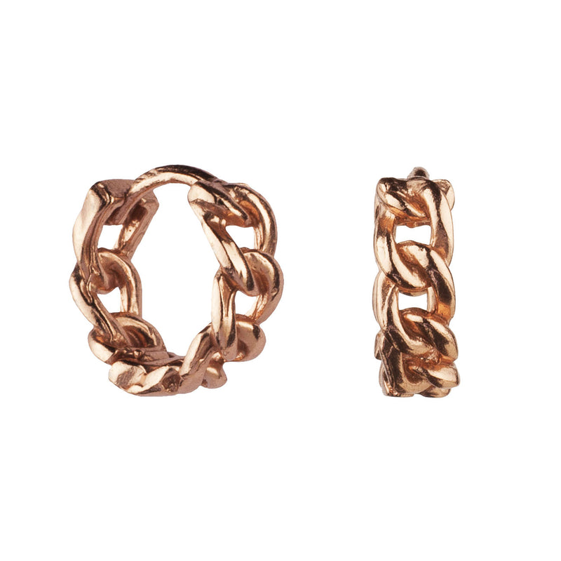 PENDIENTES HOOPS CHAIN ROSE GOLD