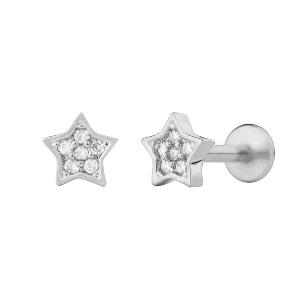 PENDIENTE PIERCING STAR BRIGHT SILVER