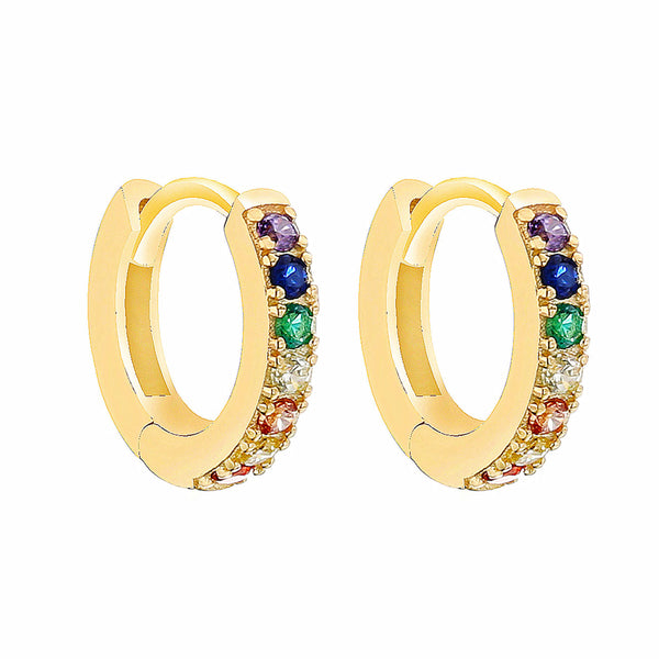 PENDIENTES HOOPS RAINBOW GOLD