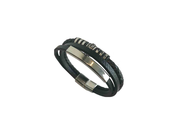 Alex Flamingo Leather Bracelet - Silver Etched